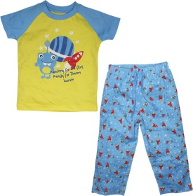 FS Mini Klub Sleepwear Boy's Printed Yellow Top & Pyjama Set