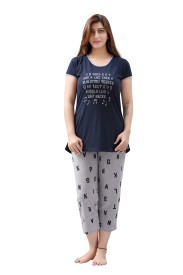 Sweet Night Women's Printed Dark Blue Top & Capri Set