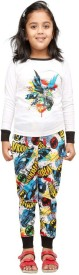 Nuteez Girl's Printed White Top & Pyjama Set