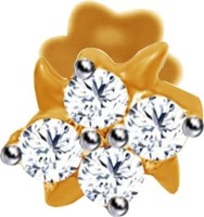 JacknJewel Petunia Star Diamond 14K Yellow Gold Plated Gold Nose Stud