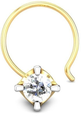 Candere 0.05ct Diamond Four Prong Nose Pin Yellow Gold Nose Stud