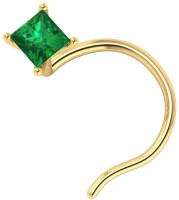 Demira Jewels Solitaire Stud Emerald Yellow Gold Plated Yellow Gold Nose Stud