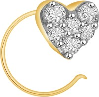Ciemme 0.13 CT Sparking Heart Cubic Zirconia 18K Yellow Gold Silver Nose Stud