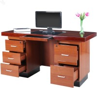 Royal Oak Engineered Wood Office Table (Free Standing, Finish Color - Honey Brown)