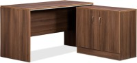 Debono Genius Table With Side Unit In Acacia Dark Finish And Silver Grey By Debono Engineered Wood Office Table (Free Standing, Finish Color - Acacia Dark)