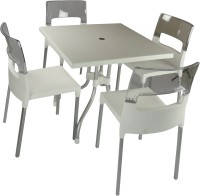 Supreme White::Natural Plastic Table & Chair Set (Finish Color - White::Natural)