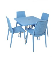 Supreme Soft Blue Plastic Table & Chair Set (Finish Color - Soft Blue)