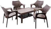 Mavi Brown Plastic Table & Chair Set (Finish Color - Brown)