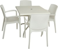 Supreme Milky White Plastic Table & Chair Set (Finish Color - Milky White)