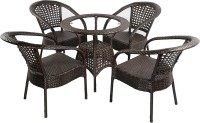 Mavi Brown Cane Table & Chair Set (Finish Color - Brown)