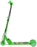 Galaxy Toys 3 Wheel Folding Scooter For Kids - LED Lights On Wheels, Height Adjustable, Bell & Brake (Green)