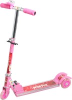 Grabby Three Wheel Metal Folding Side Light Skate Scooter With LED Lights And Bell (Pink)