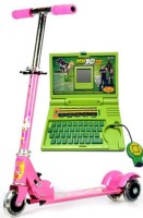 99DOTCOM Bay LED Light ,Bell And Breaks Scooter With Ben 10 English Lerner Laptop (Multicolor)