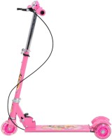 Galaxy Toys 3 Wheel Folding Scooter For Kids - LED Lights On Wheels, Height Adjustable, Bell & Brake (Pink)