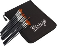 Bianyo Round, Flat, Angular, Filbert, Liner, Script Paint Brushes (Set Of 12, Black)