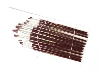 Chrome Series 166 Short Flat Paint Brushes (Set Of 12, Brown)
