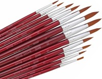 Bianyo Round Paint Brushes (Set Of 12, Red)