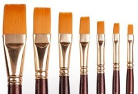 Camlin Series 67 Flat Paint Brushes (Set Of 7, Gold)
