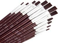 Bianyo Flat Paint Brushes (Set Of 12, Dark Red)