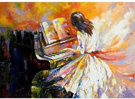 ArtzFolio Girl Playing On The Piano Unframed Art Print Canvas Painting
