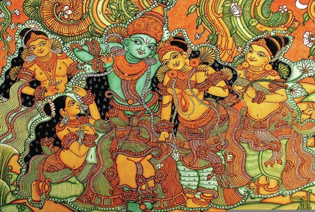 Retcomm digi art kerala mural krishna leela with gopis for Average cost of mural painting