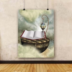 ArtzFolio Magic Book With Lamp Framed Art Print Canvas Painting