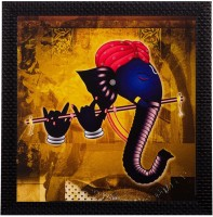 eCraftIndia Lord Ganesha Playing Flute Matt Textured UV Oil Painting