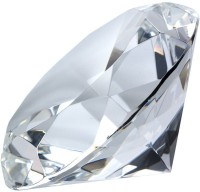 Kebica Diamond Shaped Crystal Glass Paper Weights  With Clear Finish (Set Of 2, Clear Transparent)