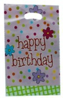 Smartcraft Happy Birthday -Polka Dot Printed Party Bag (Multicolor, Pack Of 10)