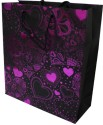 Enwraps Heart Small Paper Printed Party Bag - Purple, Black, Pack Of 6
