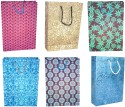 R S Jewels Paper Handmade Bag Ethnic Assorted Coloured Combo 10 Pcs. Sets Printed Party Bag - Multicolor, Pack Of 10