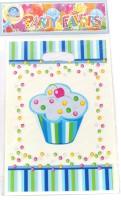 Funcart Sweet Treat Cupcake Lootbag Printed Party Bag (Blue, Pack Of 6)
