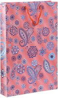 Bdpp Paper Processers Multicolor Paisley Printed Party Bag (Pink, Pack Of 10)