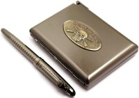 SRPC STYLISH CIGARETE CASE & GUN METAL CHECKS ROYAL ROLLERBALL Pen Gift Set (Pack Of 2, BLUE)