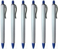 LUXANTRA Classic White Roller Ball Pen (Pack Of 6, Blue)