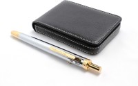 Srpc Leather Atm Card Wallet & 4in1 Chrome Multi Function Pen Gift Set (Pack Of 2, Blue)