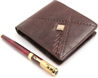 SRPC WOODS LEATHER WALLET FOR MENS & MAROON MARBLE ROYAL ROLLERBALL Pen Gift Set (Pack Of 2, BLUE)