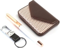 SRPC LEATHER ATM WALLET , STEEL HOOK KEYCHAIN & ROSE GOLD CAP ROLLERBALL Pen Gift Set (Pack Of 3, BLUE)