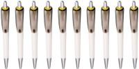 PeepalComm Classic Yellow Roller Ball Pen (Pack Of 10, Blue)