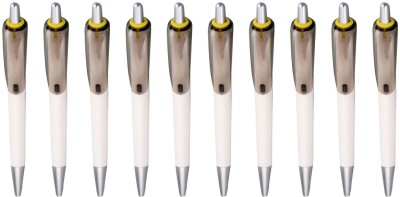 PeepalComm Classic Yellow Roller Ball Pen (Pack Of 10, Blue)