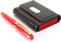 Srpc EXECUTIVE LEATHER ATM WALLET AND TOMATO RED ROYAL FOUNTAIN Pen Gift Set (Pack Of 2, BLUE)
