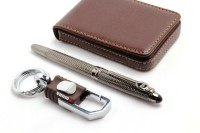 SRPC Omuda Key Chain & Atm Card Holder & Royal Gunmetal Fountain Pen Gift Set (Pack Of 3, Blue)