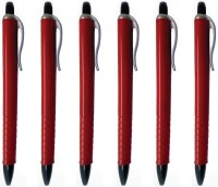 PeepalComm Classic Red Roller Ball Pen (Pack Of 6, Blue)