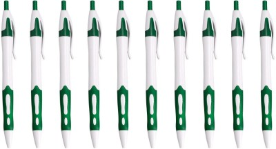 Zarsa Classic Green Roller Ball Pen (Pack Of 10, Blue)