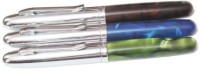 Perfect Set Of 3 Dark Marble Finish With Silver Cap & Trim Roller Ball Pen (Blue)
