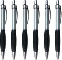 PeepalComm Classic Black Roller Ball Pen (Pack Of 6, Blue)