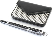 SRPC PREMIUM GIFT SET OF LEATHER ATM HOLDER & CHECKS DESIGN EXECUTIVE Fountain Pen (Pack Of 2, BLUE)