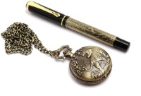SRPC ANTIQUE LOOK STYLISH POCKET WATCH CHAIN & LEGENDARY RUNNING HORSES ROLLERBALL Pen Gift Set (Pack Of 2, BLUE)