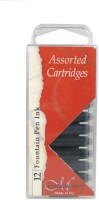Manuscript Assorted Fountain Pen Ink Cartridges- Pack Of 12 Ink Cartridge (Pack Of 12, Black, Blue & Sepia)