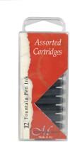 Manuscript Assorted Fountain Pen Ink Cartridges- Pack Of 12 Ink Cartridge (Pack Of 12, Black, Blue & Sepia)